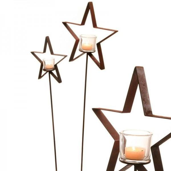 Rostmetall Stern mit Teelichtglas mit Gartenstab