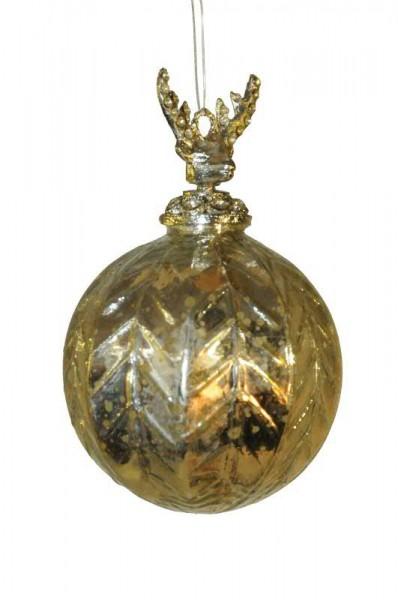 Glas Weihnachtskugeln Silber mit Metallhirschkopf