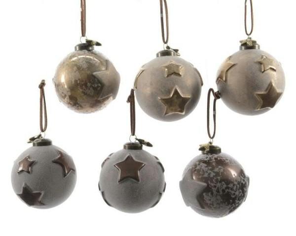 Glas Weihnachtskugeln Stern - weiß gold grau