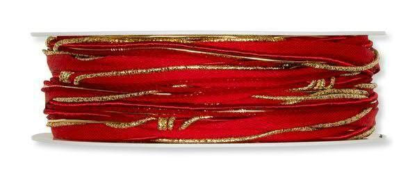 Kordelband Mix rot-gold 5 mm - 12 m drahtverstärkt