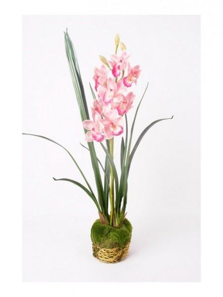 Cymbidium soiled  - Orchideen Kunstblume mit Moos