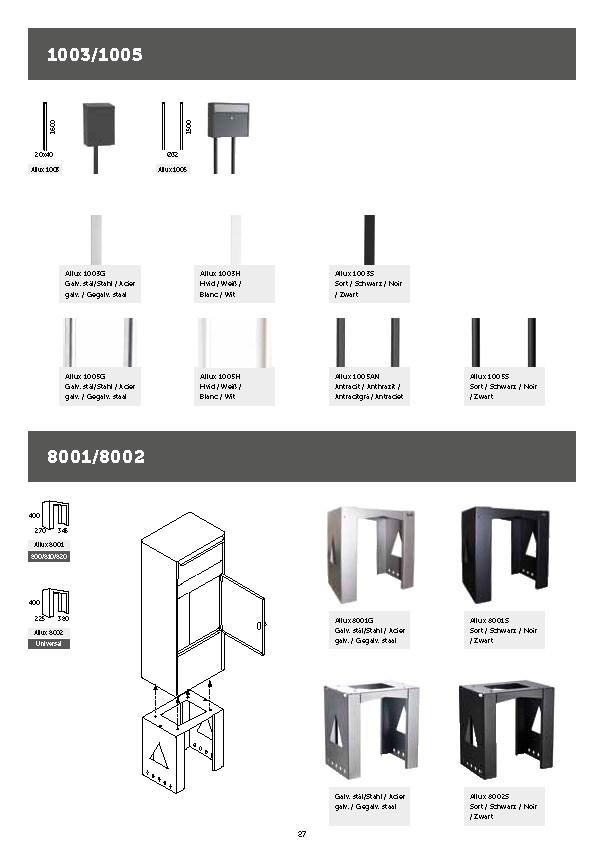 Allux-Stands-1003-1005-Design-Serie-Briefkasten-Staender