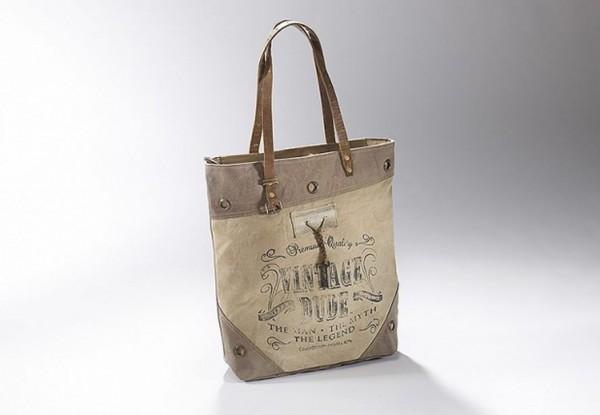 Vintage Dude - Canvas Vintage Tasche mit Lederhenkel