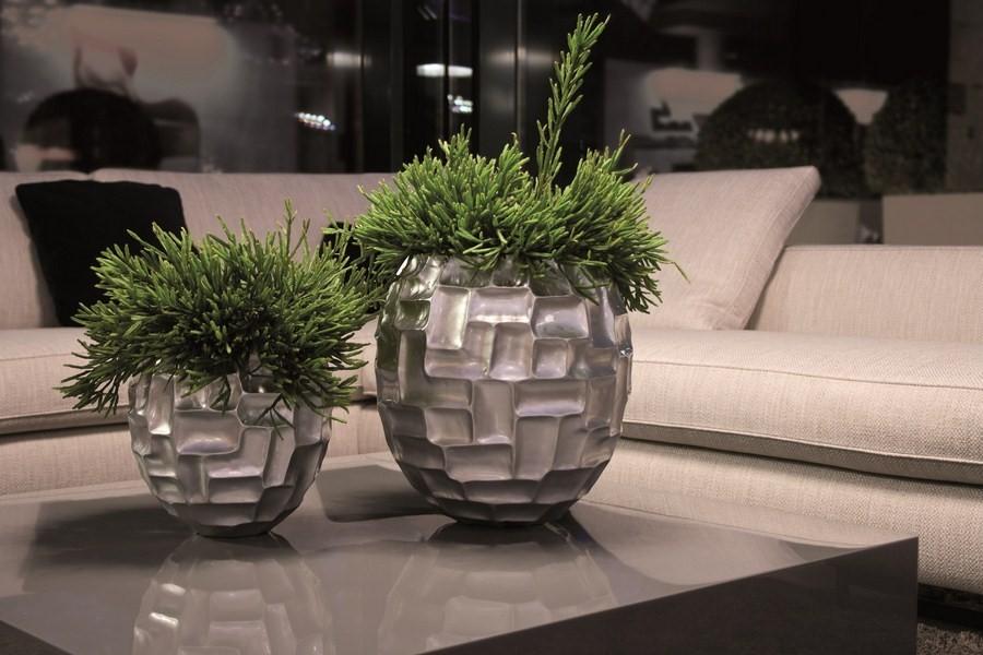 Mosaic Ball silber | Kunstharz Pflanzkübel