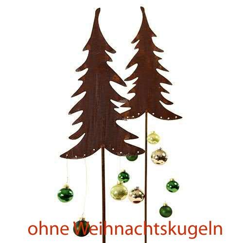 Rostmetall Gartenstecker Weihnachtstanne 40 cm 2er Set