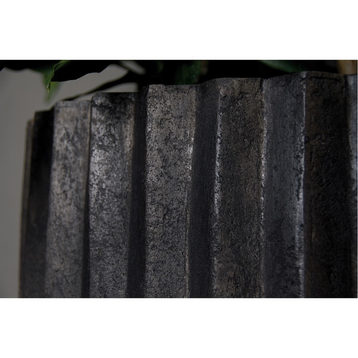 Sahara black strips | Polystone Pflanzvase