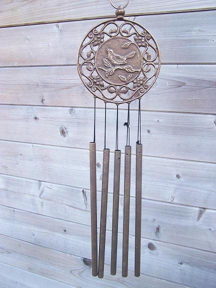 Windspiel aus Bronze | Vogelmotiv