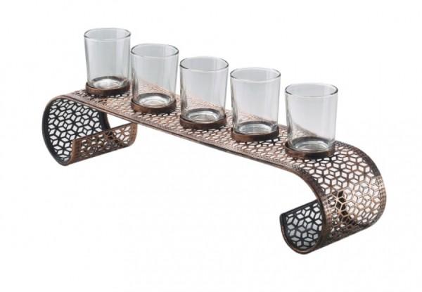 Bridge Kerzenhalter aus Metall mit 5 Gläsern