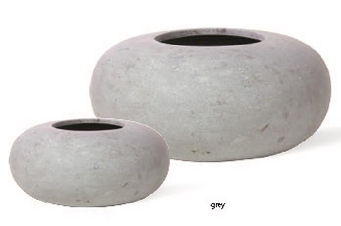 Donut grau   Polystone Pflanzgefäß