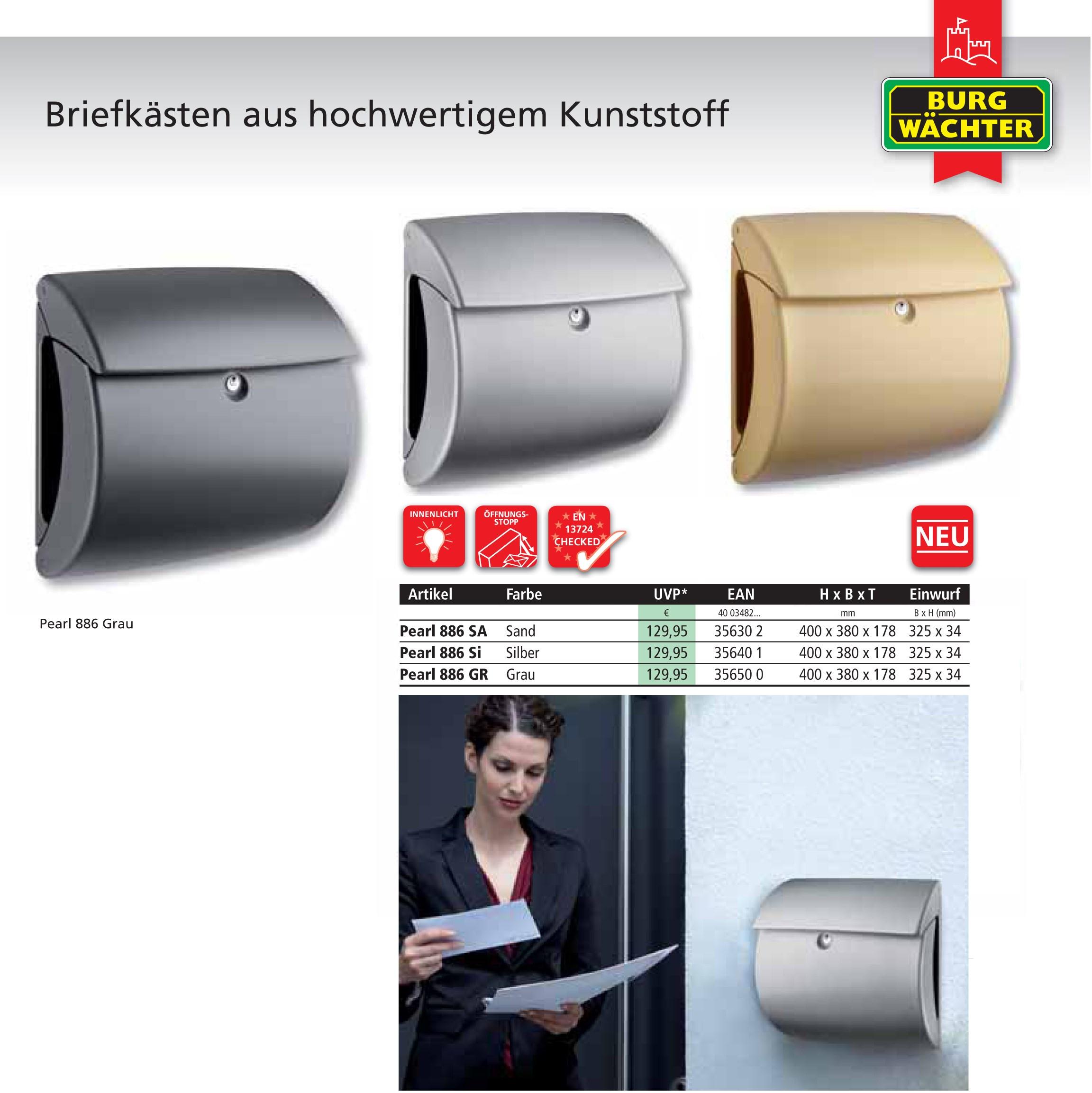 Turbo Pearl BURG-WÄCHTER | Kunststoff-Briefkasten in Mattlack  RW82