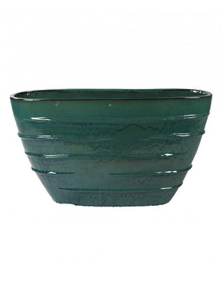 Beauty Oval Pflanzvase - Türkis Keramik