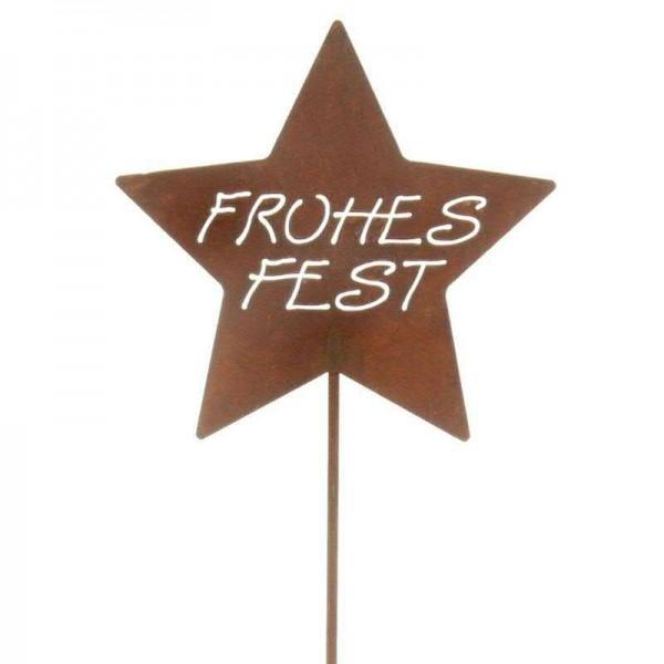 Rostmetall Frohes Fest Stern - Gartenstecker