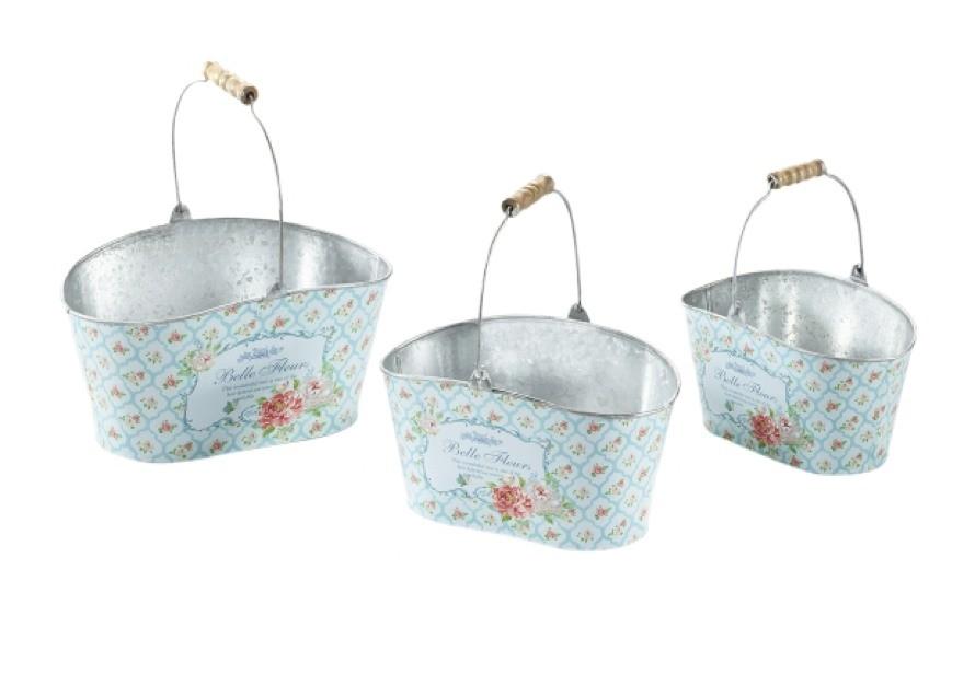 Belle Fleurs Pflanzschale oval mit Bügelgriff 3er Set