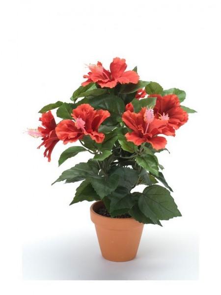 Hibiskus Kunstblumenbusch im Tontopf