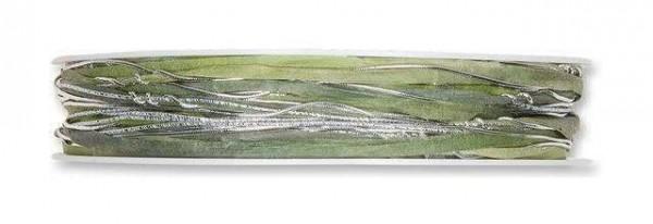 Kordelband Materialmix jade-silber 5 mm - 23 m