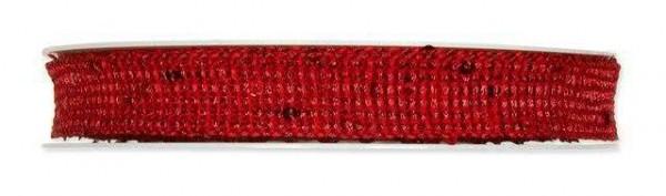 Band weinrot mit Pailletten 17 mm - 8 m drahtverstärkt