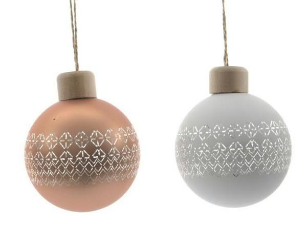Glas Weihnachtskugeln weiß & rosa mit Holzkappe