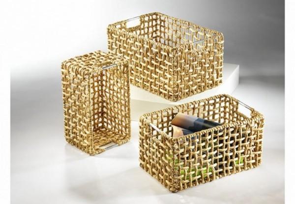 Regalkorb Cagedor aus Wasserhyazinthe.und Metallgriffen 3er Set