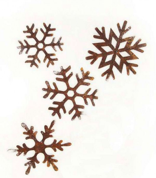 Rostmetall Schneeflocken 20 cm zum Hängen - 4er Set