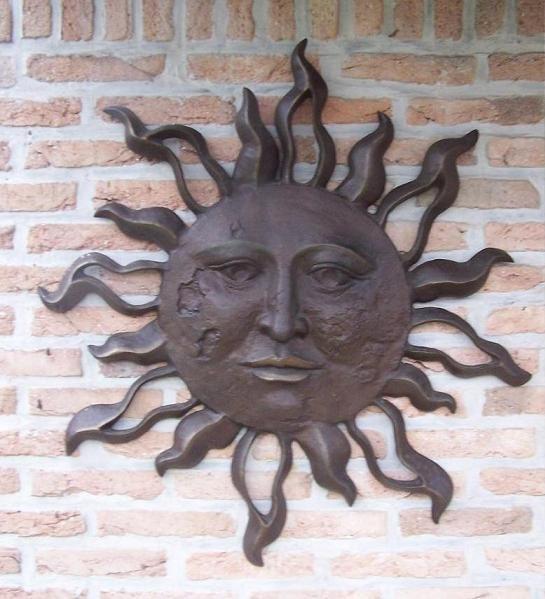 Grosse Sonne 75 cm zum aufhängen aus Bronze