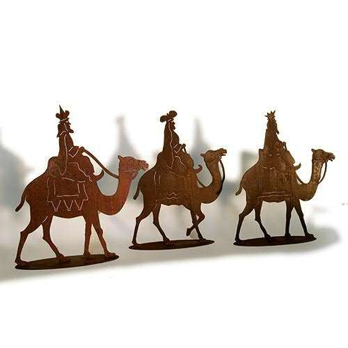 Die Heilige Drei Könige reiten auf dem Kamel als Rostmetall 90 cm