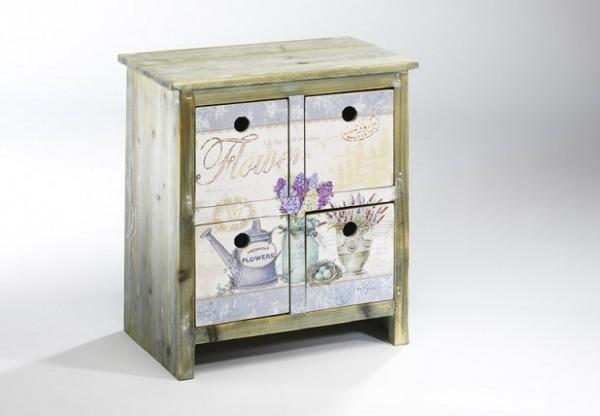 Provence Deko Holz-Kommode | 4 Schubfächer