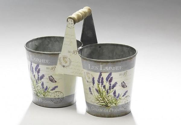 Deko-Übertopfpaar Provence aus Metall mit Lavendeldeko