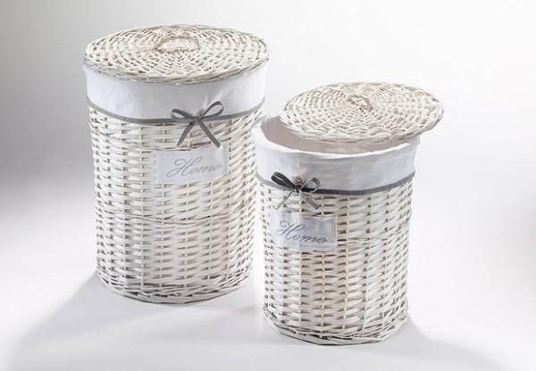Wäschekorb Home aus Weide weiß 2er Set