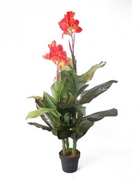 Canna orange 120 cm   Blumenrohr Kunstpflanze im Topf