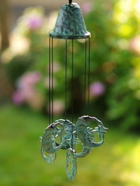 Windspiel aus Bronze | Mondmotiv