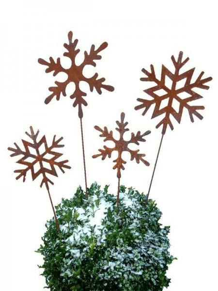 Rostmetall Schneeflocken Gartenstecker 4er Set