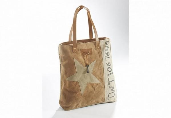 White Star - Canvas Vintage Tasche mit Lederhenkel