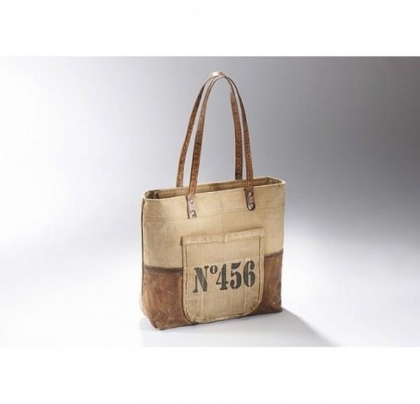 No. 456 - Canvas Vintage Tasche mit Lederhenkel