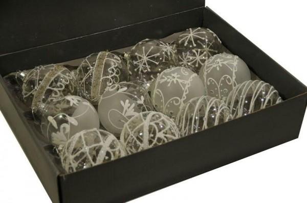 Glas Weihnachtskugeln Schnee weiß-klar