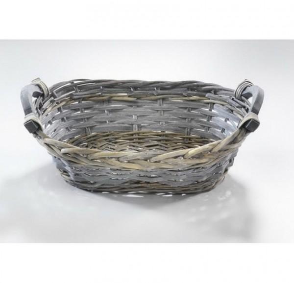 Dekoschale Zenji oval aus Chipwood und Weide grey-washed