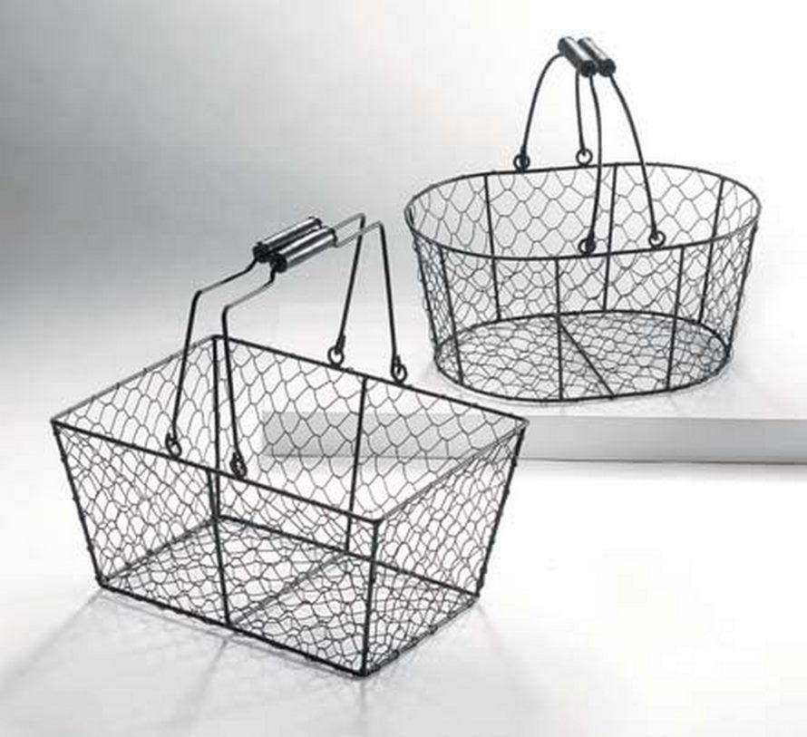 luis schwarzer drahtkorb oval aus metall mit henkel die. Black Bedroom Furniture Sets. Home Design Ideas