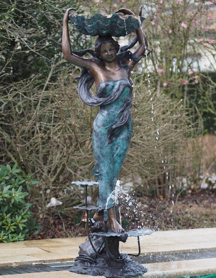 Gro er bronze muschelbrunnen venus terrapalme heim und - Comprar fuente de agua ...