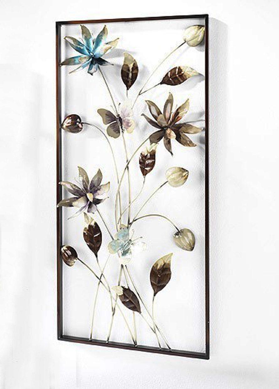Wandbild blumenland metall blumen wanddekoration for Blumen aus rostigem metall