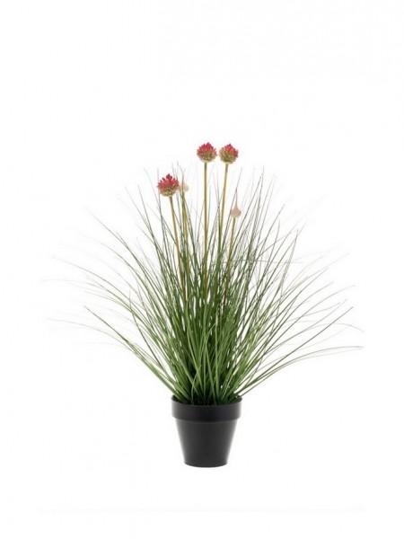Allium Blumen Kunstgras 53cm im Zinktopf