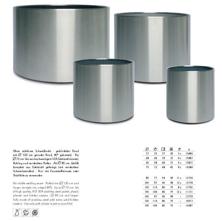 Sterling Edelstahl Pflanzkübel | rund | Terrapalme Heim- und Gartenshop